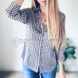 Gingham Career WHBM Button Down Top